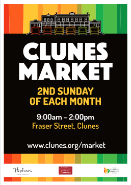 clunes market, 2nd Sunday of each month, 9am to 2pm, Fraser Street, Clunes